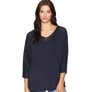 Express dolman sweater knit 3/4 sleeve navy blue S